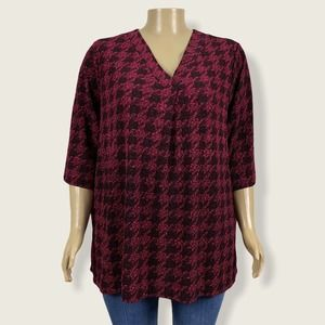 Catherines Houndstooth Print Knit Shirt Top 3X